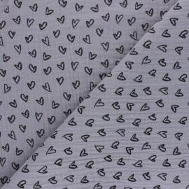 Patterned Double gauze fabric - grey Joli coeur x 10cm