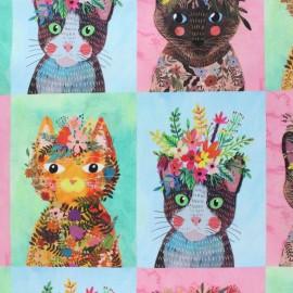 Tissu coton Blend fabrics Floral Pet - vert x 15 cm