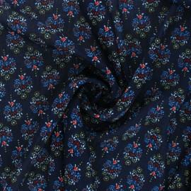 Flowery Muslin fabric - blue Louane x 50cm