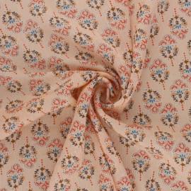 Flowery Muslin fabric - peach pink Louane x 50cm
