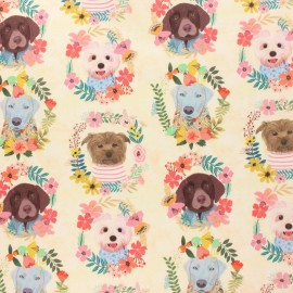 Blend Fabrics Cotton Fabric - raw More Floral Puppies x 10 cm