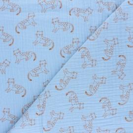 Patterned Double gauze fabric - sky blue Félix x 10cm