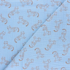 Tissu double gaze de coton Félix - bleu ciel  x 10cm
