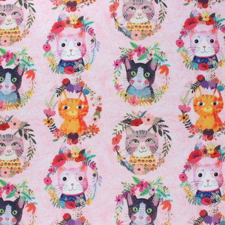 Blend Fabrics Cotton Fabric - soft pink More Floral Puppies x 10 cm