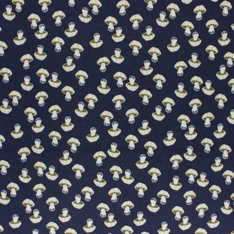 Tissu coton Cotton + Steel - In the Woods - Mushroom - bleu x 10cm