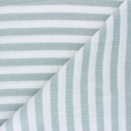 Striped Double gauze cotton fabric - eucalyptus x 10cm