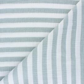 Tissu double gaze de coton à rayures - eucalyptus x 10cm