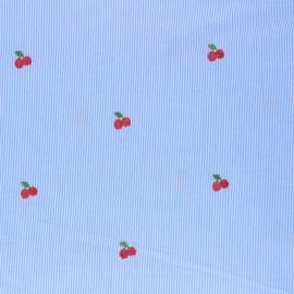Tissu voile de coton rayé brodé Cherry - bleu ciel  x 10cm
