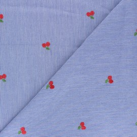 Tissu voile de coton rayé brodé Cherry - bleu marine  x 10cm