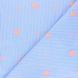 Embroidered striped Cotton voile Fabric - sky blue Little fleurette x 10cm
