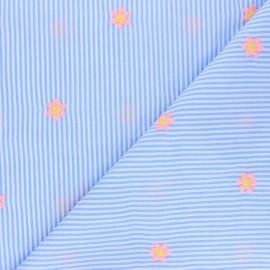 Tissu voile de coton rayé brodé Little fleurette - bleu ciel  x 10cm