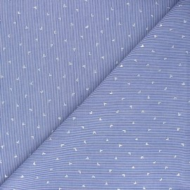 Striped Cotton voile Fabric - navy blue Little hearts  x 10cm
