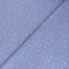 Tissu voile de coton rayé Little hearts - bleu marine x 10cm