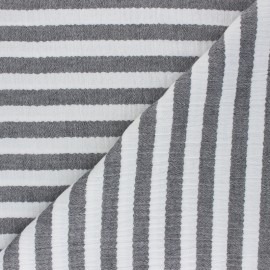 Striped Double gauze cotton fabric - black x 10cm