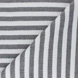 Tissu double gaze de coton à rayures - noir x 10cm
