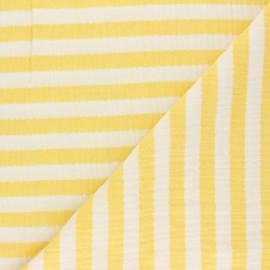 Tissu double gaze de coton à rayures - jaune x 10cm