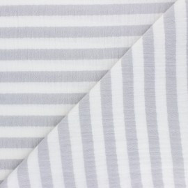 Striped Double gauze cotton fabric - grey x 10cm