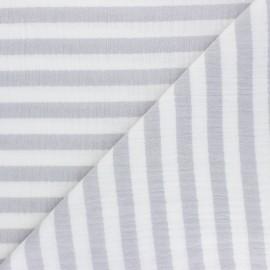 Tissu double gaze de coton à rayures - gris x 10cm