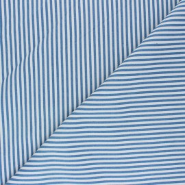 Striped polycotton fabric - light jean Léna x 10cm