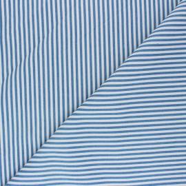 Tissu polycoton rayé Léna - jean clair x 10cm