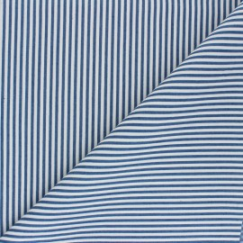 Striped polycotton fabric - denim blue Léna x 10cm