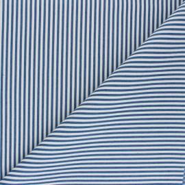 Tissu polycoton rayé Léna - bleu denim x 10cm