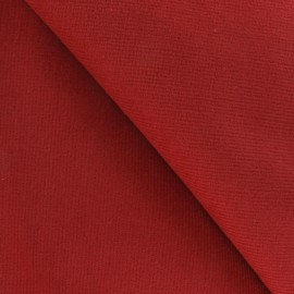 Tissu velours milleraies élasthanne rouge x10cm