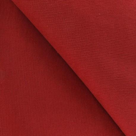Tissu velours milleraies élasthane rouge