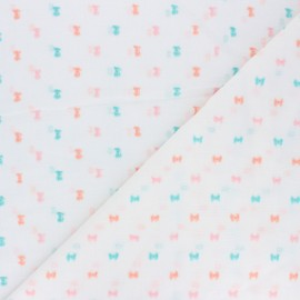 Plumetis Cotton voile Fabric - white Lou x 10cm