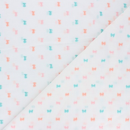 Plumetis Cotton voile Fabric - Blue Camila x 10cm