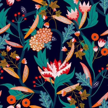 Dashwood studio rayon fabric - Navy Gardenia A x 10cm