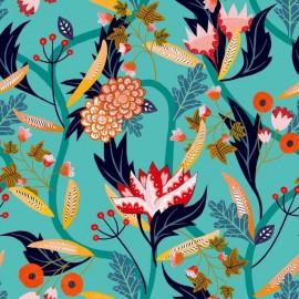 Dashwood studio rayon fabric - Aqua Gardenia A x 10cm