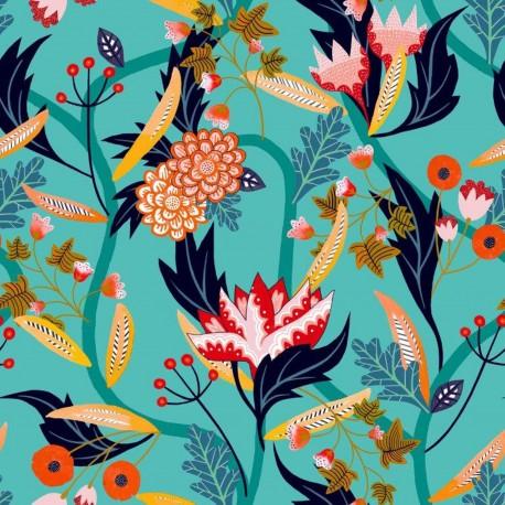 Tissu Rayonne Dashwood studio Gardenia A - aqua x 10cm