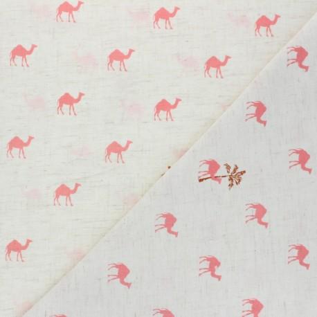 Light linen viscose fabric -  raw Dromadaires x 10cm