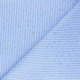 Tissu popeline de coton rayé Estrella - bleu x 10cm