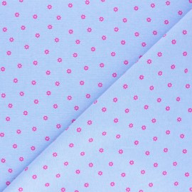 Tissu coton Chambray Pink flowers - Bleu x 10cm