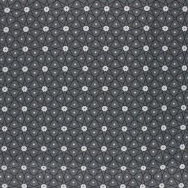 Coated cretonne cotton fabric - Dark grey Persia x 10cm