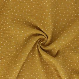 Tissu double gaze de coton Poppy Little Dots - jaune moutarde  x 10cm