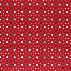 Coated cretonne cotton fabric - red Persia x 10cm
