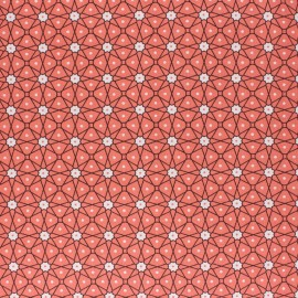Coated cretonne cotton fabric - Coral pink Persia x 10cm