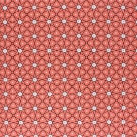 Tissu coton cretonne enduit Persia - corail x 10cm