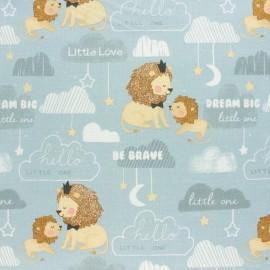 Cotton poplin fabric - Grey Little Lion x 10cm