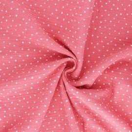 Tissu double gaze de coton Poppy Little Dots - Corail x 10cm