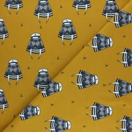 Bloome Copenhagen cotton jersey fabric - Ochre Captain Walrus x 10 cm