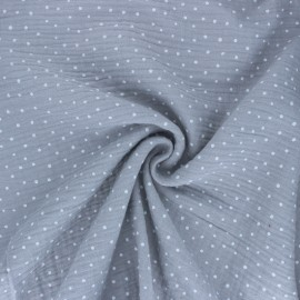 Poppy Double gauze fabric - Grey Little Dots x 10cm