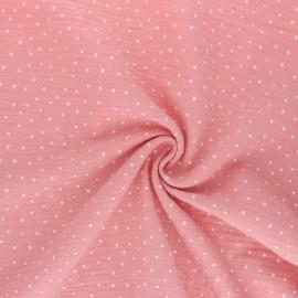 Poppy Double gauze fabric - Peach Little Dots x 10cm