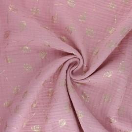 Poppy Double gauze fabric - old pink Dandelion x 10cm