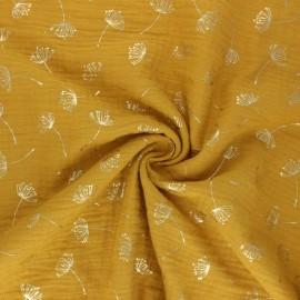 Tissu double gaze de coton Poppy Dandelion - Jaune moutarde  x 10cm