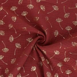 Poppy Double gauze fabric - red brick Dandelion x 10cm