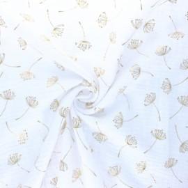 Poppy Double gauze fabric - white Dandelion x 10cm